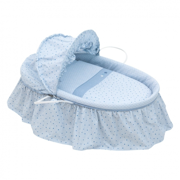 BASKET WITH FRILLS + HOOD UNE STELA BLUE 47x84 CM