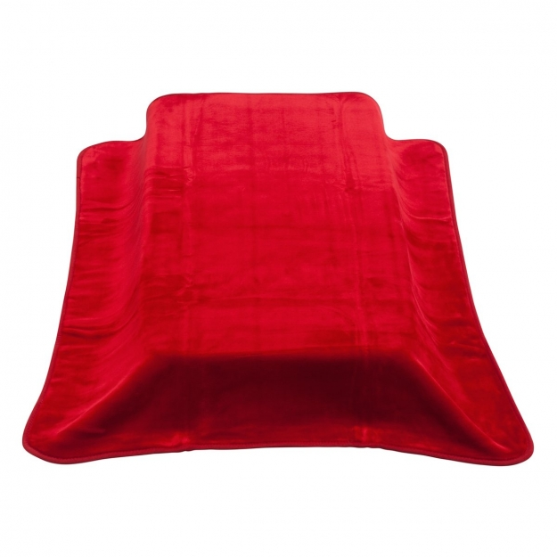 BLANKET RASCHEL - COT BE SOLID RED 110x140 CM