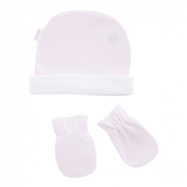 CAP & MITTENS LISO PINK