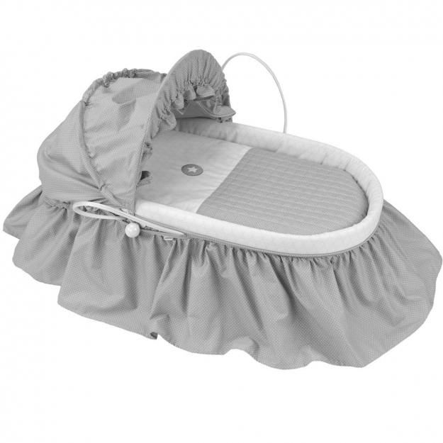 BASKET WITH FRILLS + HOOD UNE PIC GREY 47x84 CM