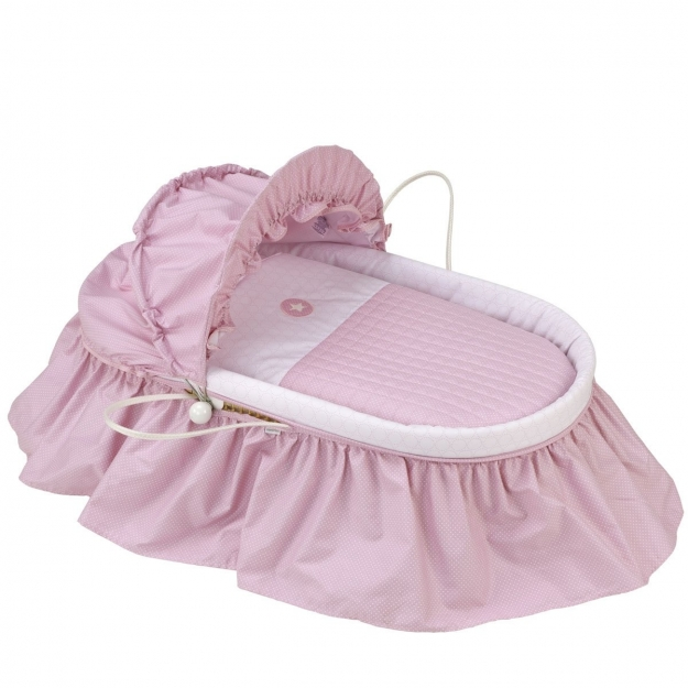 BASKET WITH FRILLS + HOOD UNE PIC PINK 47x84 CM