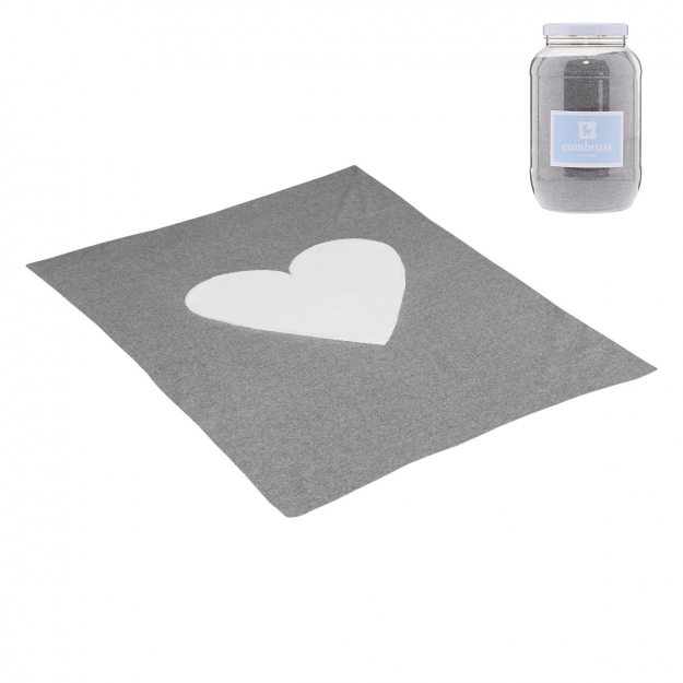 BABY COTTON BLANKET 80x100 CM CUORE GREY