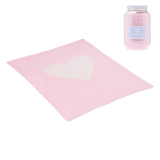 BABY COTTON BLANKET CUORE PINK 80x100 CM