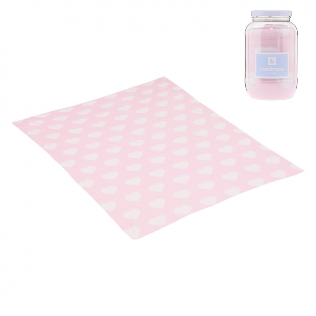 BABY COTTON BLANKET LOVE PINK 80x100 CM