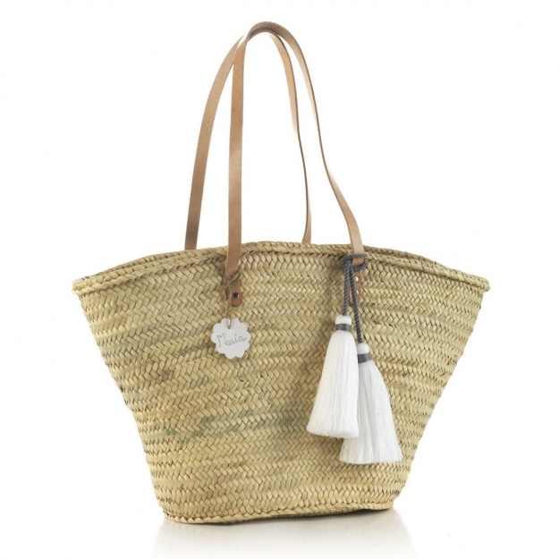 PALM BEACH BASKET TASSEL WHITE 30x50x40 CM