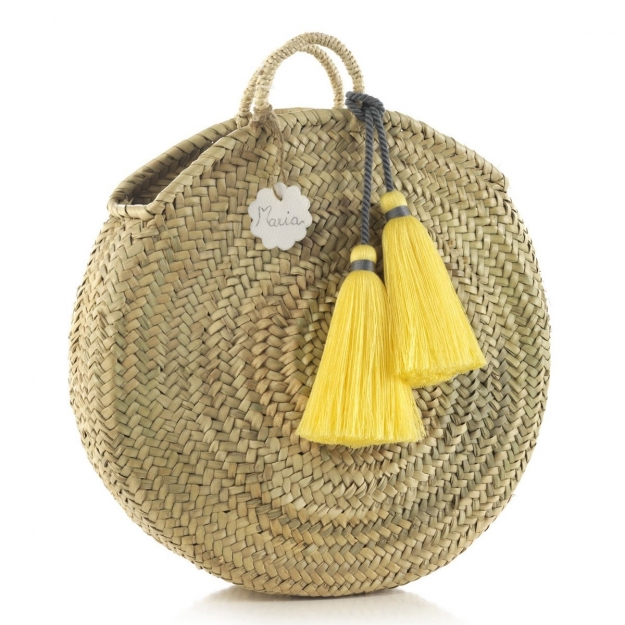 HANDLE BAG RATTAN BIG TASSEL YELLOW 10x40x40 CM