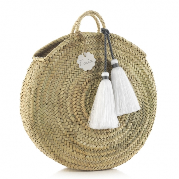 HANDLE BAG RATTAN BIG TASSEL WHITE 10x40x40 CM