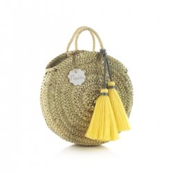 HANDLE BAG RATTAN SMALL TASSEL YELLOW 10x30x35 CM