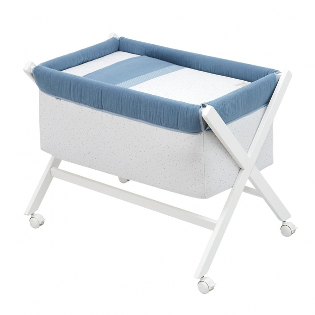 SMALL BED X WOOD UNE ASTRA BLUE 55x87x74 CM