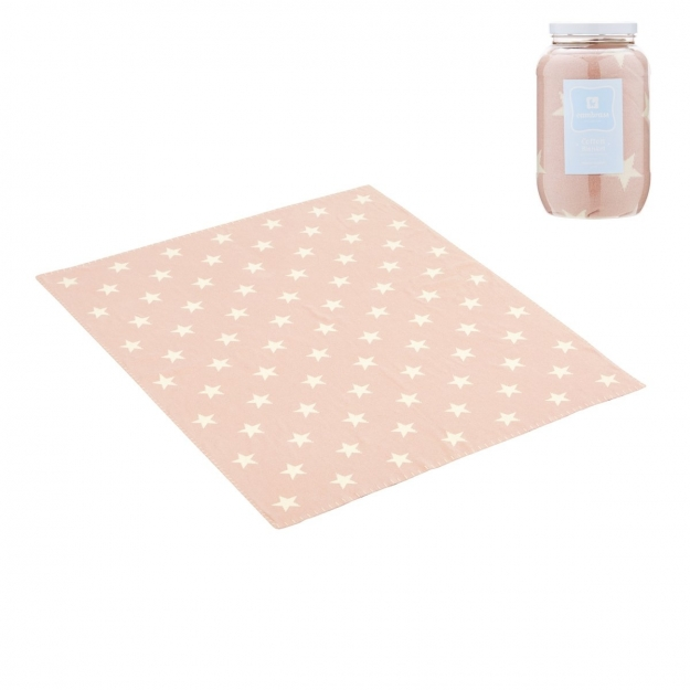 BABY COTTON BLANKET ETOILE PINK 80x100 CM