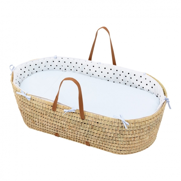 QUILTED BASKET UNE BE DOTS BLUE 44x81 CM