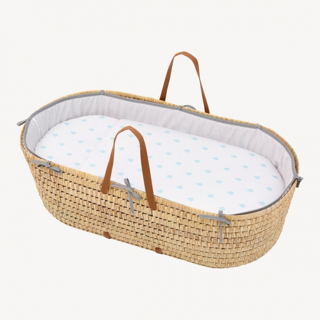 QUILTED BASKET UNE BE RAIN BLUE 44x81 CM