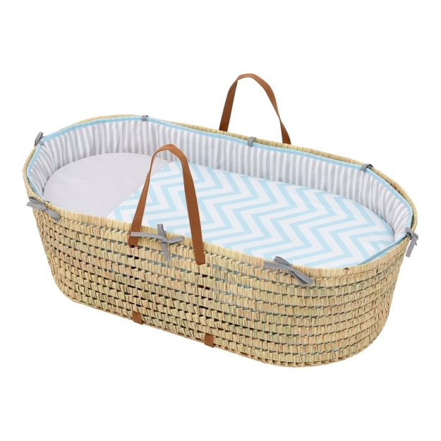 QUILTED BASKET UNE BE ZIGZAG BLUE 44x81 CM