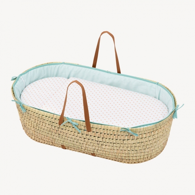 QUILTED BASKET UNE BE W.MELON CORAL 44x81 CM