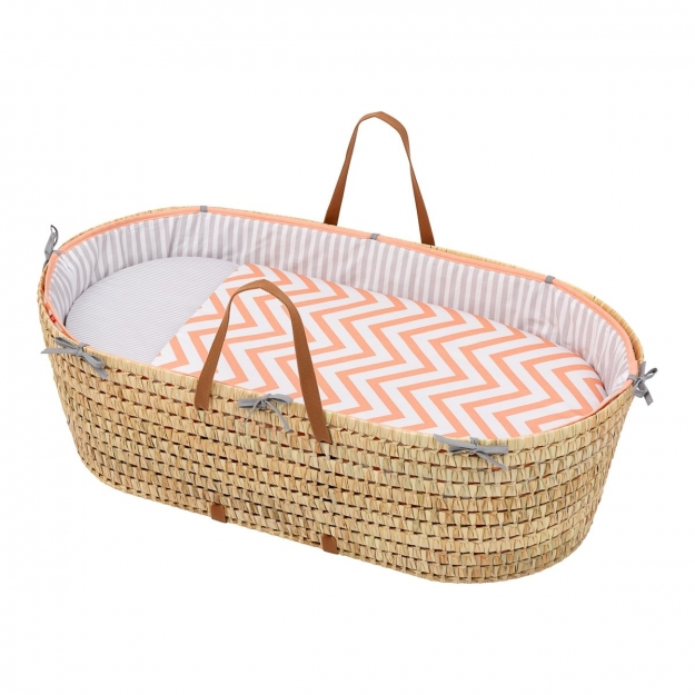 QUILTED BASKET UNE BE ZIGZAG CORAL 44x81 CM
