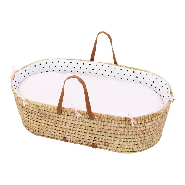 QUILTED BASKET UNE BE DOTS PINK 44x81 CM