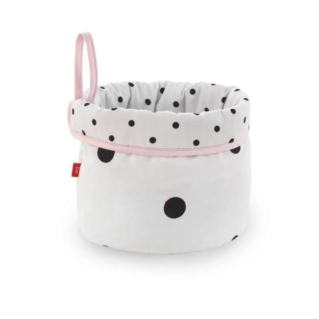 ROUND BASKET BE DOTS PINK 21x17 CM