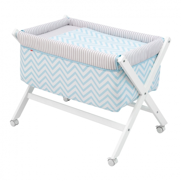 SMALL BED X WOOD UNE BE ZIGZAG BLUE 55x87x74 CM