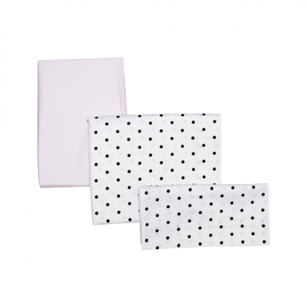SET 3 PCS.COT FLAT SHEET 100x165 CM BE DOTS PINK