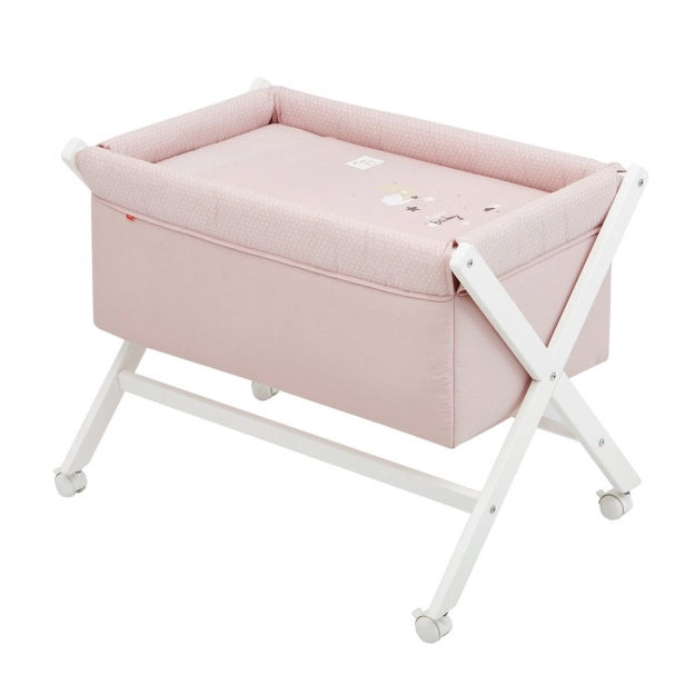 SMALL BED X WOOD UNE BE MOON PINK/WHITE 55x87x74 CM