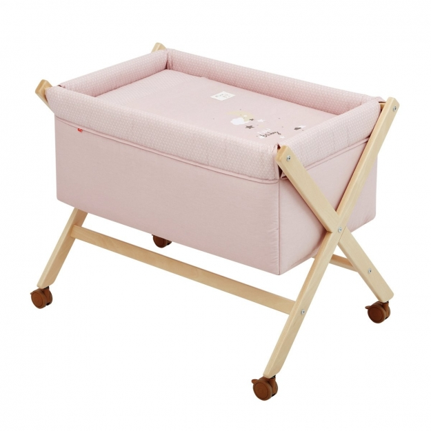 SMALL BED X WOOD UNE BE MOON PINK/NATURAL 55x87x74 CM