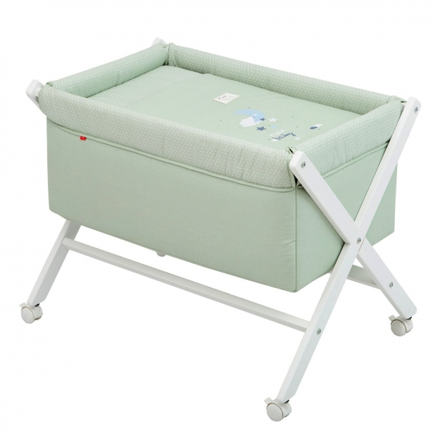 SMALL BED X WOOD UNE BE MOON GREEN/WHITE 55x87x74 CM