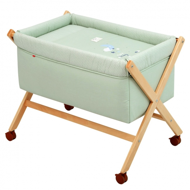 SMALL BED X WOOD UNE BE MOON GREEN/NATURAL 55x87x74 CM